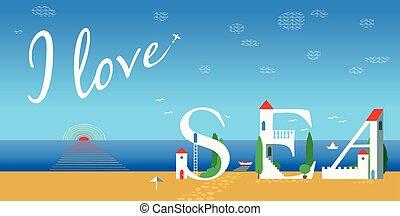 Inscription I love sea. Vector Illustration
