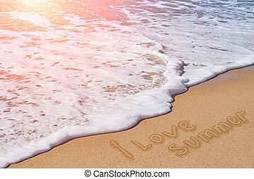 Inscription I love summer on the sand beach