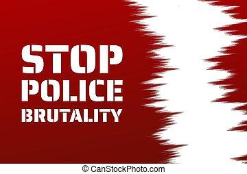 inscription., illustration., concept., bandera, vector, plantilla, policía, texto, parada, plano de fondo, brutalidad, cartel, eps10