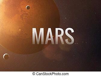 inscription, inspirer, collage, planet., nasa., fond, mars, images