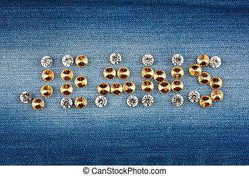 Inscription jeans made of rhinestones