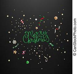 inscription., lettrage, fête, confetti, gabarit, noël, joyeux