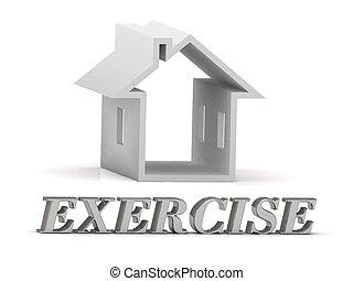 inscription, lettres,  exercise-, maison, blanc, argent