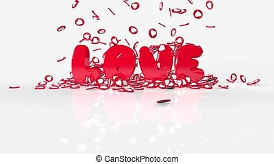 Inscription Love for Valentine's Day on a white background. Hearts with animation 3D.