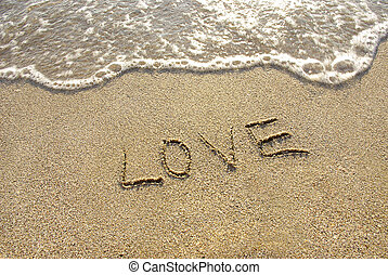 Inscription love on the beach