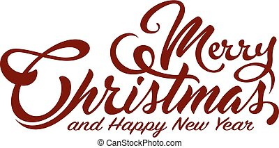 Inscription Marry Christmas and Happy New Year on white...