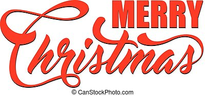 Inscription Marry Christmas on white background. Winter...