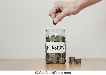 inscription, met, argent, concept., pièces, espèces, 'pension'., main, verre, économies, boîtes, distribution