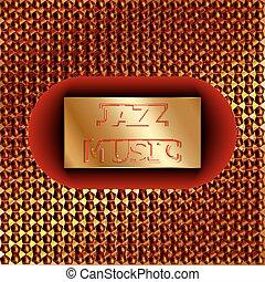 inscription, musique jazz, sur, a, or, fond
