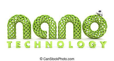 inscription, nanotechnology, blanc, isolé, fond