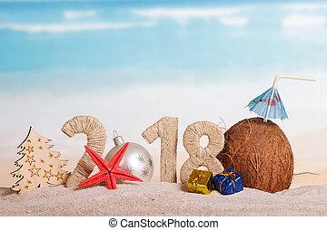 inscription, noix coco, balle, etoile mer, sand., arbre, nombre, nouveau, paille, dons, année, instead, 2018, noël, 0