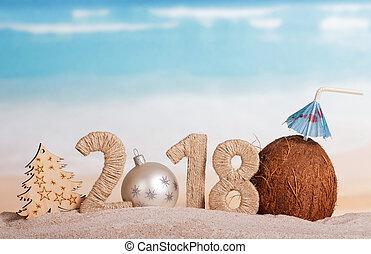 inscription, noix coco, balle, paille, blanc, arbre, nombre, nouveau, sable, plage., année, instead, 2018, noël, 0