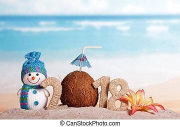 inscription, noix coco, fleur, paille, nombre, nouveau, bonhomme de neige, sable, plage., année, instead, 2018, boire, 0