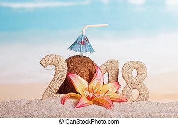 inscription, noix coco, fleur, parapluie, paille, nombre, sable, plage., année, nouveau, 2018, instead, boire, 0