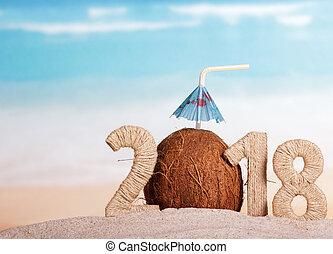 inscription, noix coco, plage., parapluie, paille, nombre, 0, sable, année, nouveau, 2018, instead, boire