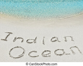 "Inscription ""Ocean"" in the sand on a tropical island,  Maldives."