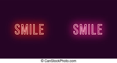 Inscription of Smile in neon style. Vector Text