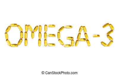 "Inscription: ""Omega-3"" on the mirror white background. Isolate on white"