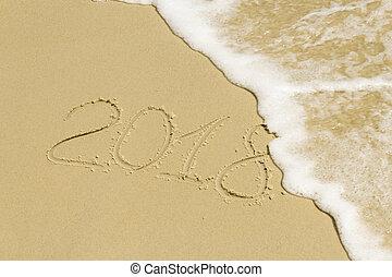 Inscription on sand with sea foam - Summer inscription on...