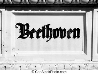 Inscription on the tombstone of BEETHOVEN'S grave in the cemetery of the musicians in VIENNA Austria