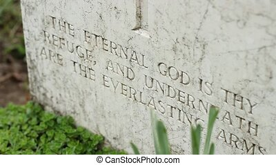 Inscription on Tombstone - Epitaph carved in marble on grave...