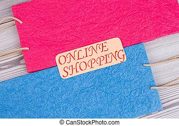 inscription, papier, achats, bags., ligne