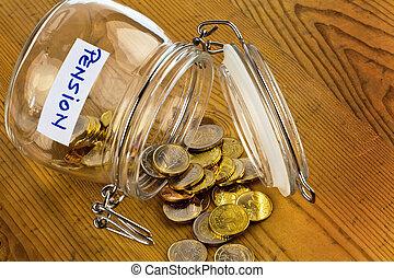 inscription, pièces., retraite, pot, /, pension