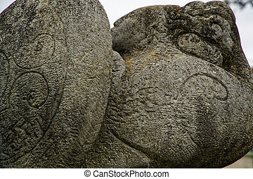 inscription, pierre, ancien, nature, lignes, -, découpé, orné
