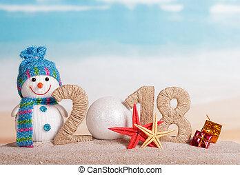 inscription, plage., etoile mer, 0, -, nombre, nouveau, bonhomme de neige, sable, dons, année, instead, boule blanche, 2018