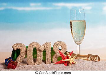 inscription, plage., etoile mer, champagne, verre, sable, dons, bouteille, année, nouveau, 2018