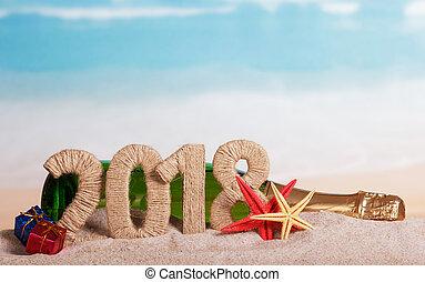 inscription, plage., etoile mer, dons, sable, bouteille, année, nouveau, 2018, champagne