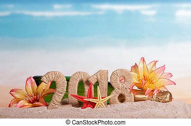 inscription, plage., etoile mer, fleurs, sable, bouteille, année, nouveau, 2018, champagne, décoré