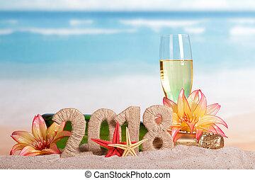 inscription, plage., etoile mer, fleurs, verre, sable, bouteille, année, nouveau, 2018, champagne, décoré