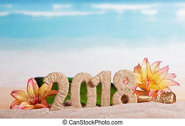 inscription, plage., sable, 2018, bouteille, année, nouveau, décoré, fleurs, champagne