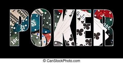 Inscription poker on the background of cards with chips and money