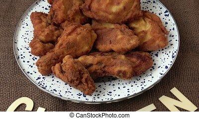inscription, poulet, frit, chicken., frais