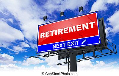 inscription, retraite, rouges, billboard.