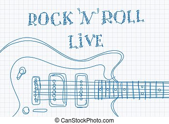 Inscription rock'n'roll live on notebook sheet patterned...