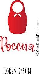 Inscription Russia, lorem ipsum with Russian doll.