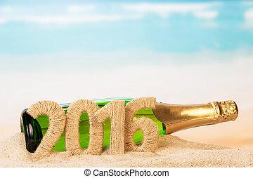 inscription, sable, champagne, 2016, bouteille