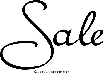 Inscription sale on a white background. Black inscription. Vector illustration.