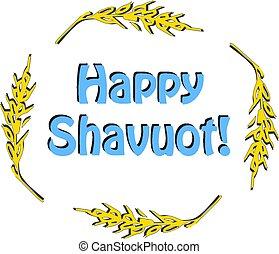 inscription, shavuot, blé, shavuot., fête, isolé, illustration, rond, barley., arrière-plan., vecteur, oreilles, cadre, heureux