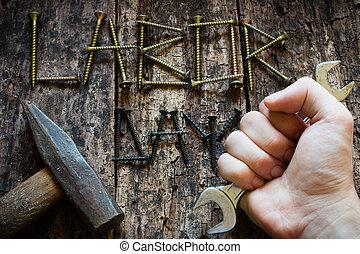 inscription, sien, tenue, foyer, main, sélectif, clé, fond, jour main oeuvre, homme