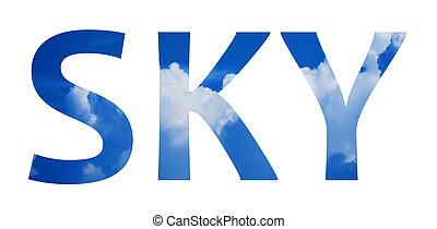 Inscription sky on the background of blue clouds