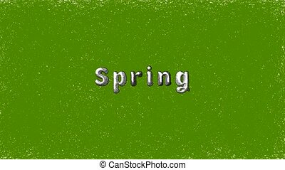 Inscription Spring on a green grunge background