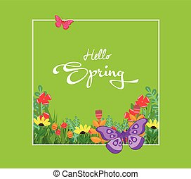 Inscription Spring Time on background with spring flowers and butterflies
