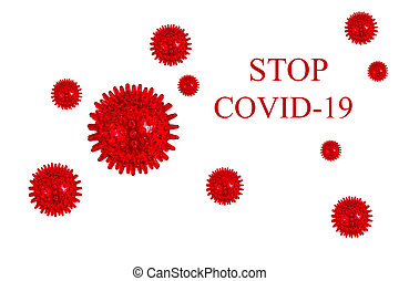 """Inscription """"STOP COVID-19"""" on white background."""