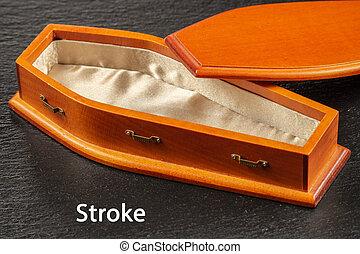 Inscription Stroke on black background near empty wooden coffin. Stroke disease concept