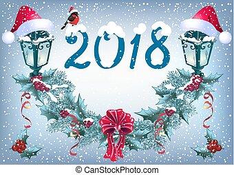 """inscription, style, santa, guirlande, chute neige, """"2018"""", incandescent, lanternes, retro, fond, chapeau, noël, bouvreuil"""