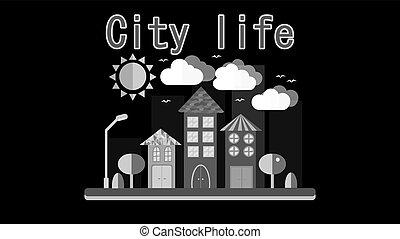 inscription, style, vecteur, nuages, ciel, plat, simple, soleil, gratte-ciel, différent, arbres, urbain, maisons, lanternes, noir, illustration, grand, life., blanc, ville, paysage